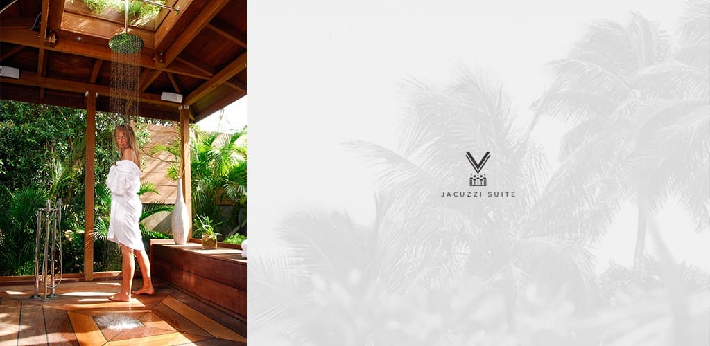 douche tropicale de la suite jacuzzi - hotel saint barth Le Village